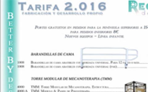 REORT -  Tarifa 2016 - Nuevos productos - Fabricación de equipos mecánicos para terapia tradicional y funcional. Líneas de adulto y pediátricas